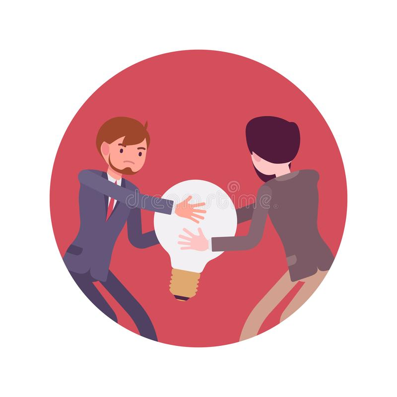 Struggle for the a lamp or idea. Struggle between businessmen in a formal wear for a lamp against red background. Cartoon vector flat-style concept illustration royalty free illustration
