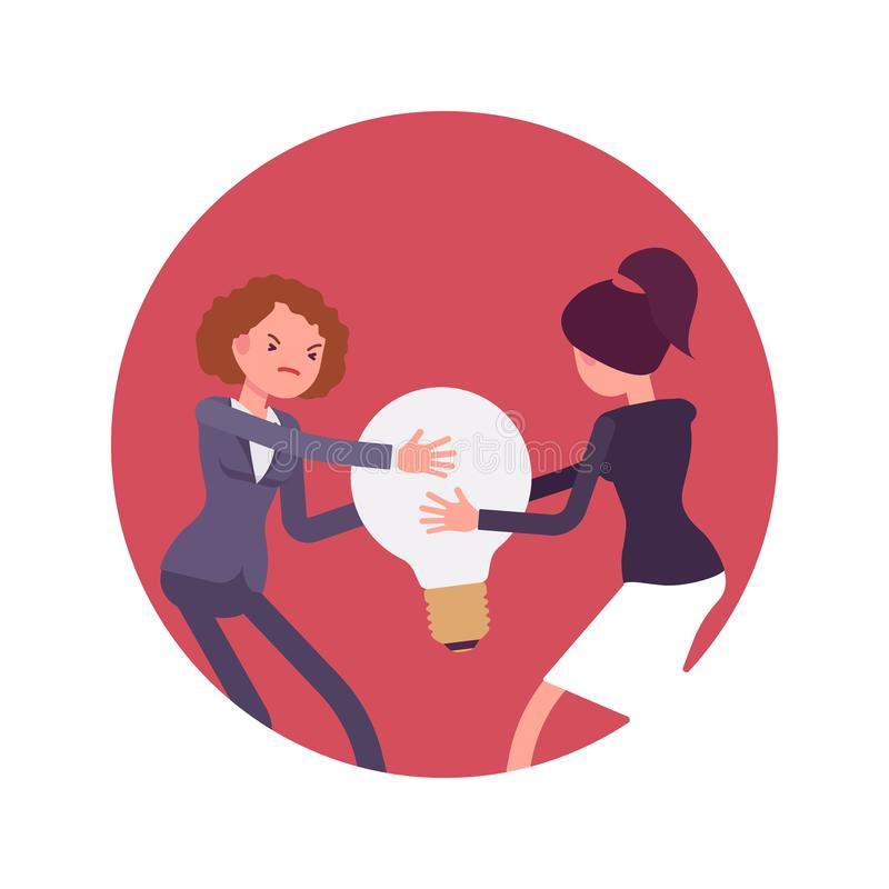 Struggle between women for a lamp bulb or idea. Struggle between women in a formal wear for a lamp bulb against red circle background. Cartoon vector flat-style stock illustration