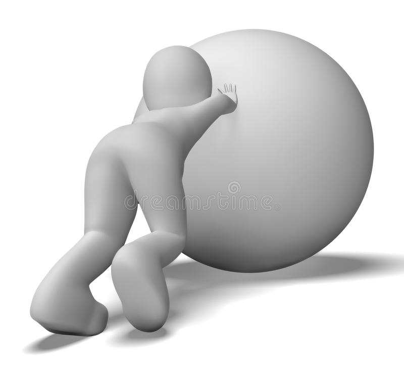 Struggling Uphill Man With Ball Shows Determination. Struggling Uphill Man With Ball Showing Determination stock illustration