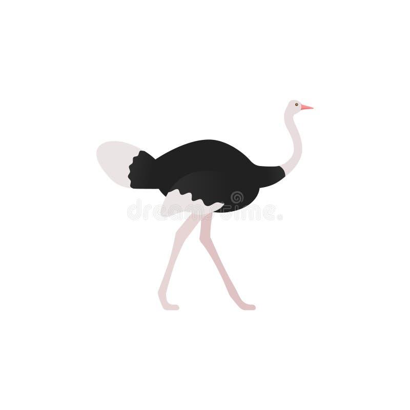 Struisvogel die zich in vlak ontwerp bevinden Vector illustratie stock illustratie