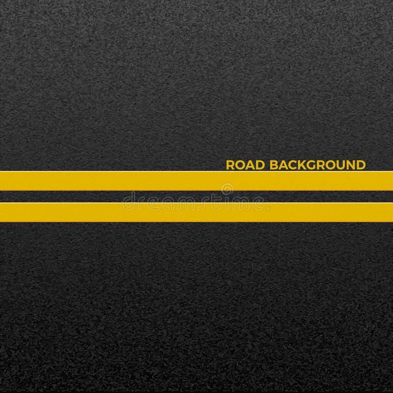 Struktur av grynig asfalt Asfaltera textur med två gul linje vägmarkering abstrakt bakgrundsväg vektor royaltyfri illustrationer