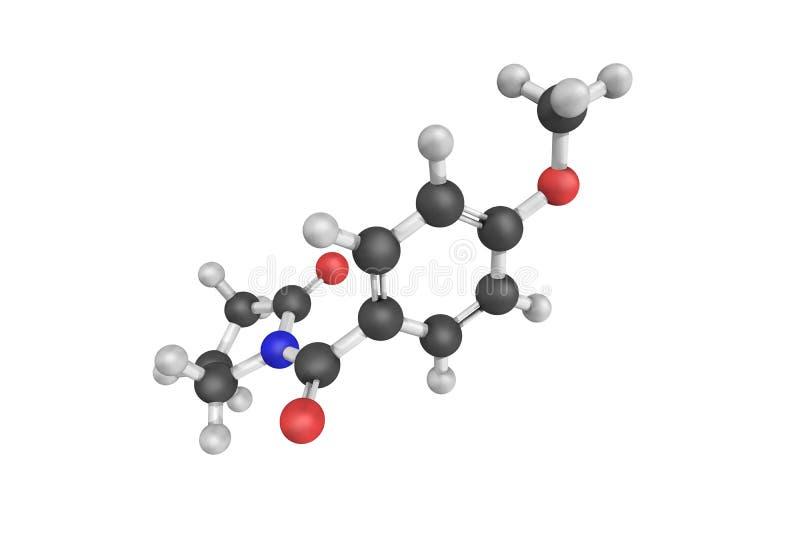struktur 3d av aniracetam, också som är bekant som N-anisoyl-2-pyrrolidinone royaltyfri illustrationer