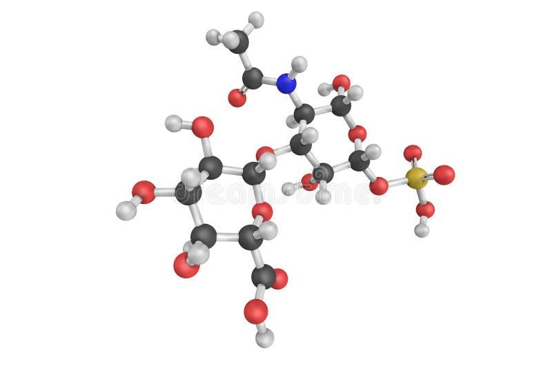 struktur 3d av Chondroitinsulfatet, en sulfated glycosaminoglyca royaltyfri illustrationer