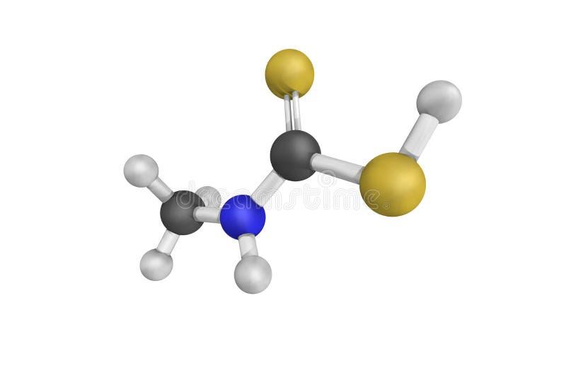 Struktur 3d von Metam-Natrium, ein organosulfur Mittel stock abbildung