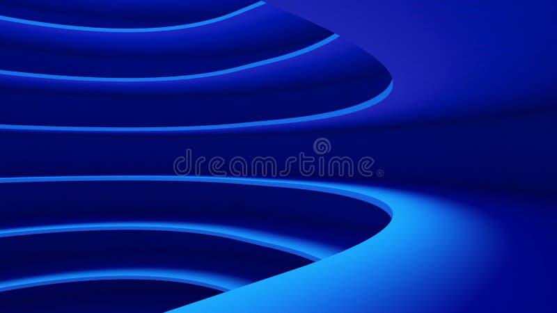 Struktur des futuristischen leeren Kurvenraumes Innenarchitektur auf Blauem stock abbildung