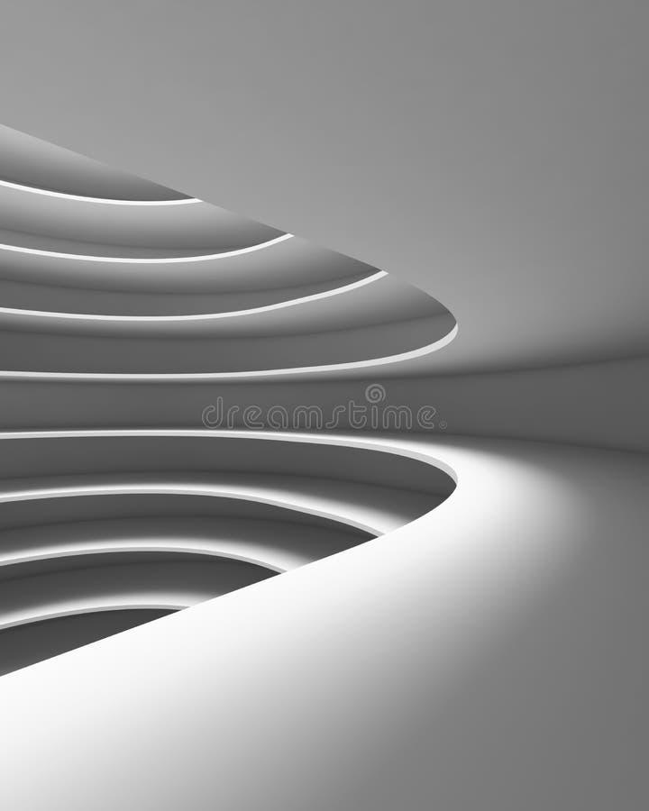 Struktur des futuristischen leeren Kurvenraumes Innenarchitektur auf whi stock abbildung