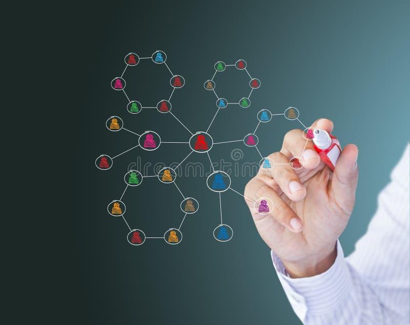 Struktur des Geschäftsmann-Zeichnungs-Sozialen Netzes lizenzfreie stockfotos