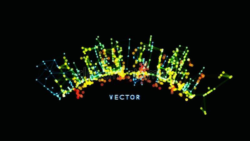 struktur för anslutning 3D Faktisk abstrakt bakgrund med partiklar Futuristisk teknologistil vektor illustrationer