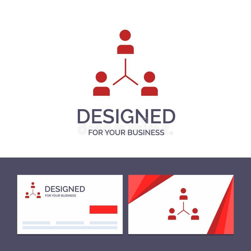 Struktur för idérik mall för affärskort och logo, företag, samarbete, grupp, hierarki, folk, Team Vector Illustration stock illustrationer