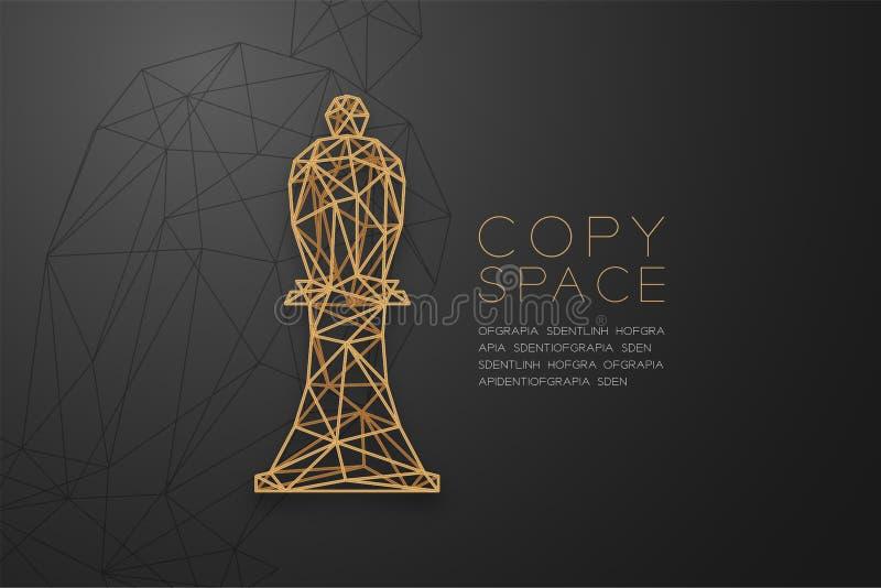 Struktur för ram för polygon för schackbiskopwireframe guld-, illustration för design för begrepp för affärsstrategi vektor illustrationer