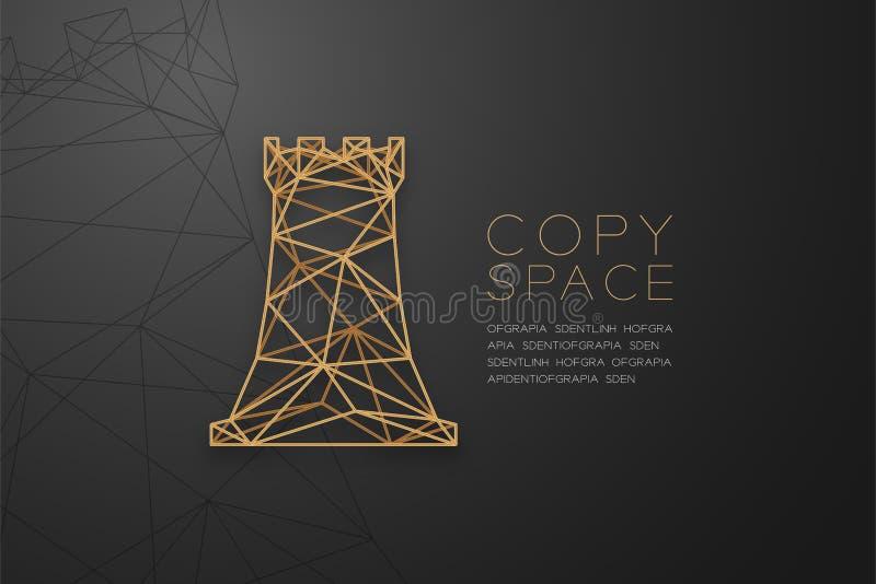 Struktur för ram för polygon för schackråkawireframe guld-, illustration för design för begrepp för affärsstrategi royaltyfri illustrationer