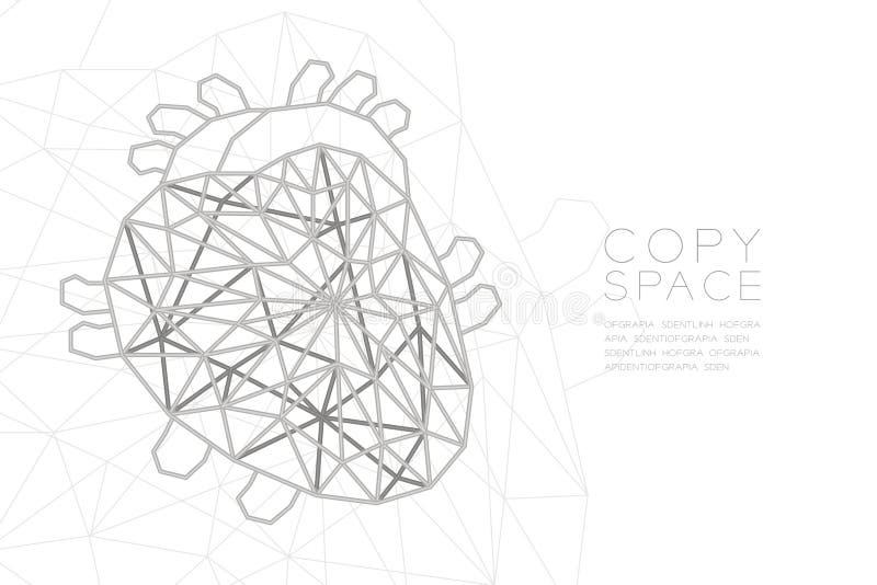 Struktur för ram för silver för polygon för hjärtaformwireframe, för organbegrepp för medicinsk vetenskap som illustration stock illustrationer