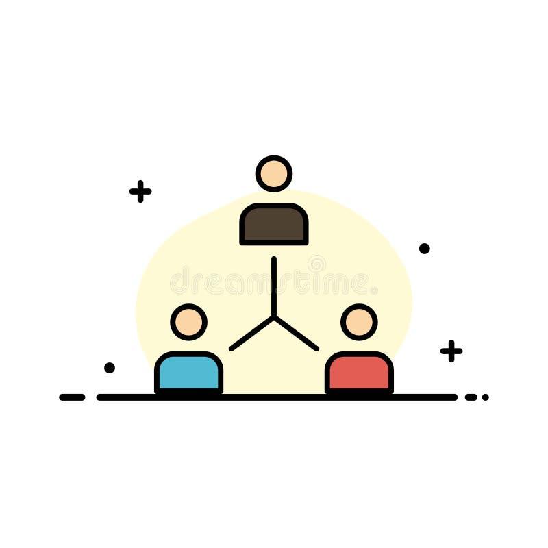 Struktur företag, samarbete, grupp, hierarki, folk, mall för baner för Team Business Flat Line Filled symbolsvektor royaltyfri illustrationer