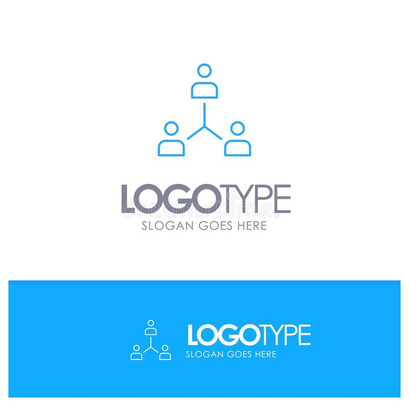Struktur företag, samarbete, grupp, hierarki, folk, Team Blue översiktslogo med stället för tagline vektor illustrationer