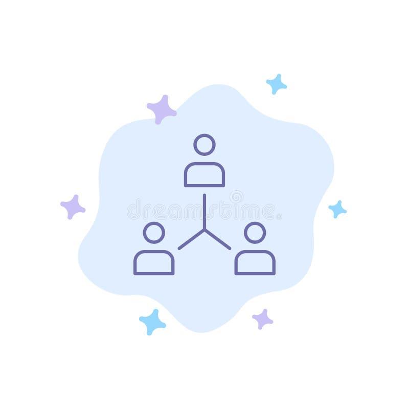 Struktur företag, samarbete, grupp, hierarki, folk, Team Blue Icon på abstrakt molnbakgrund stock illustrationer