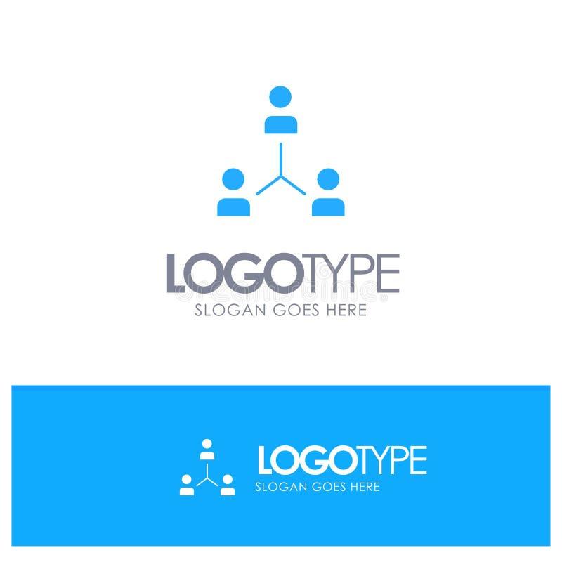 Struktur företag, samarbete, grupp, hierarki, folk, Team Blue Solid Logo med stället för tagline royaltyfri illustrationer