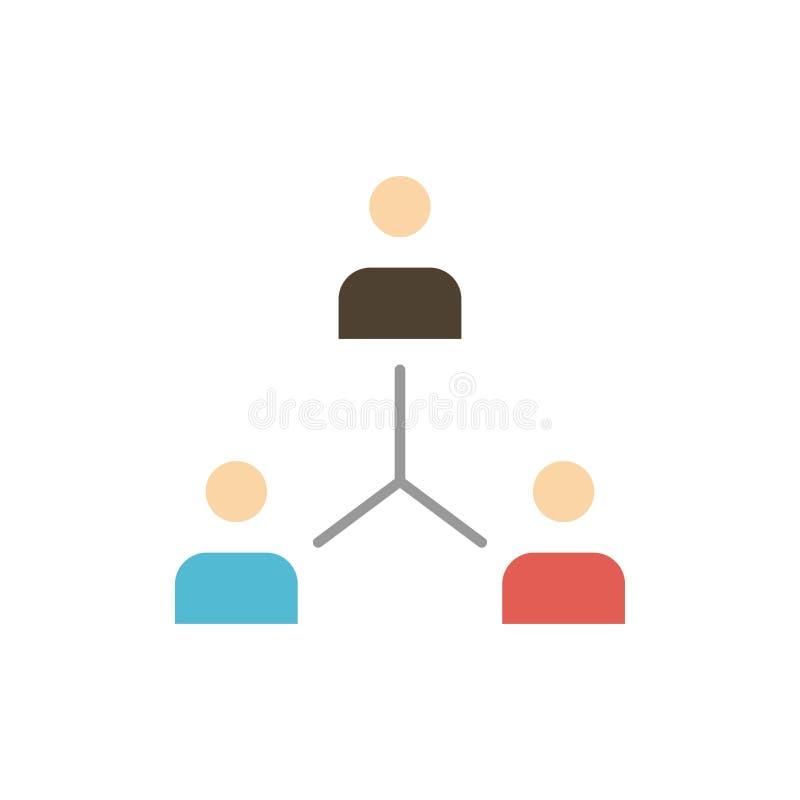 Struktur företag, samarbete, grupp, hierarki, folk, Team Flat Color Icon Mall för vektorsymbolsbaner vektor illustrationer