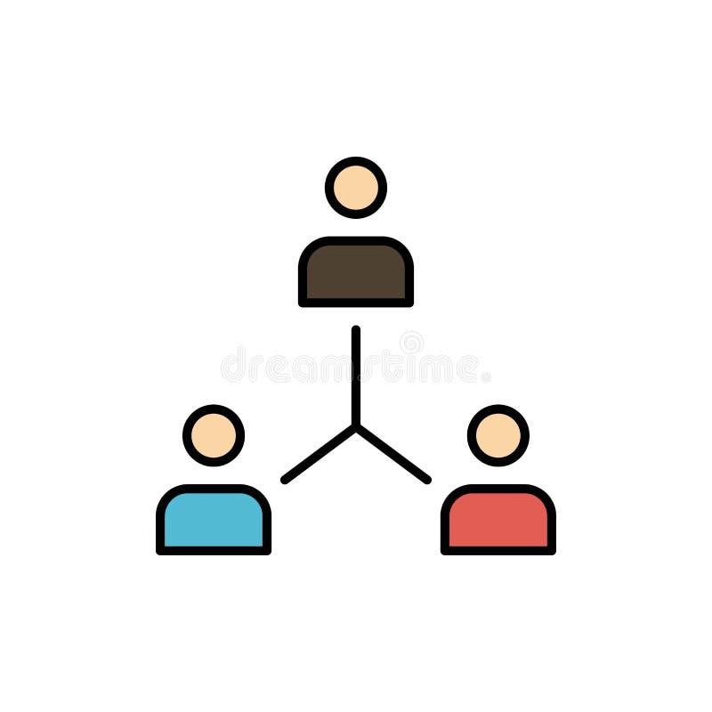 Struktur företag, samarbete, grupp, hierarki, folk, Team Flat Color Icon Mall för vektorsymbolsbaner stock illustrationer