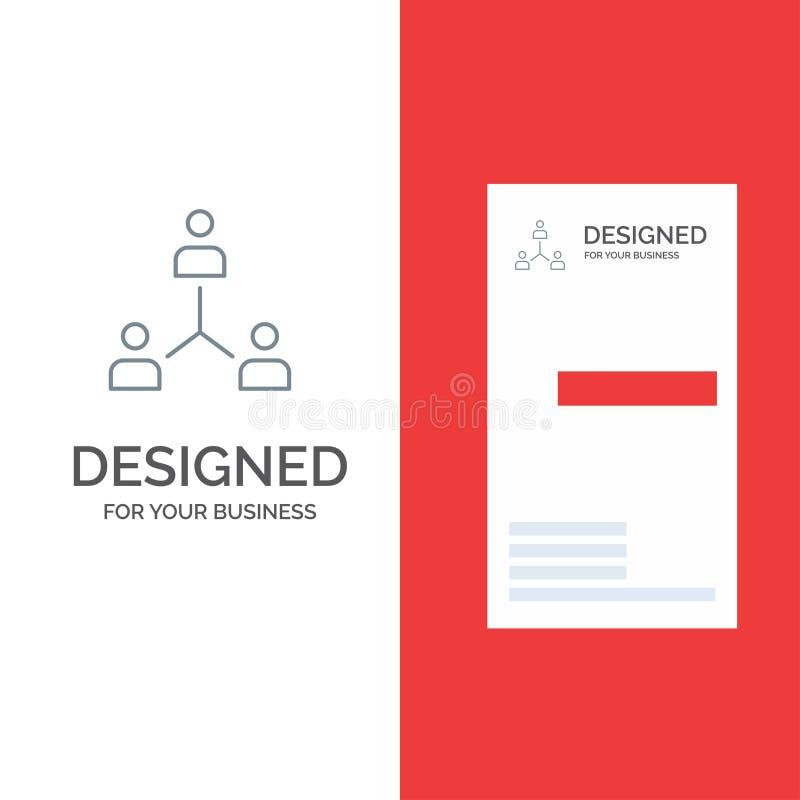 Struktur, företag, samarbete, grupp, hierarki, folk, Team Grey Logo Design och mall för affärskort stock illustrationer