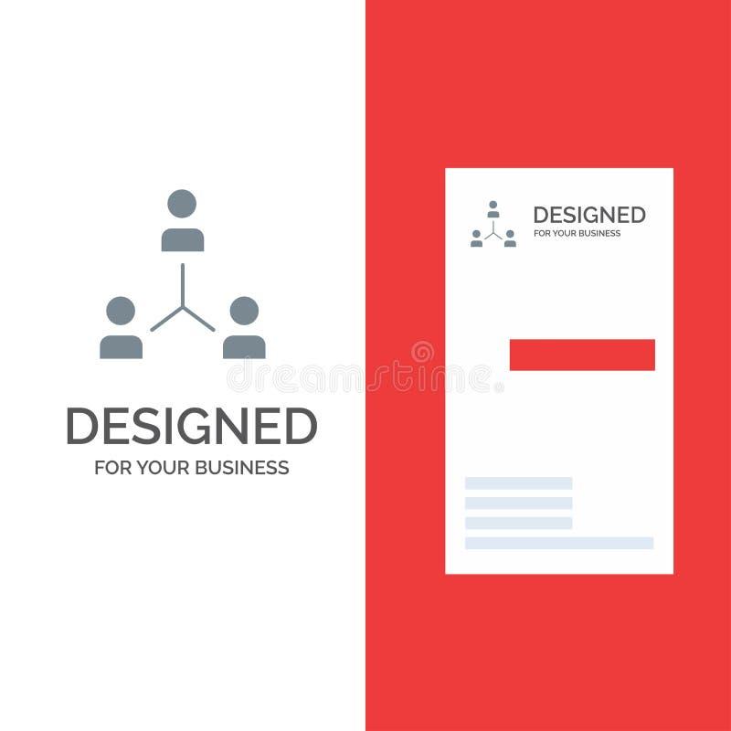 Struktur, företag, samarbete, grupp, hierarki, folk, Team Grey Logo Design och mall för affärskort royaltyfri illustrationer