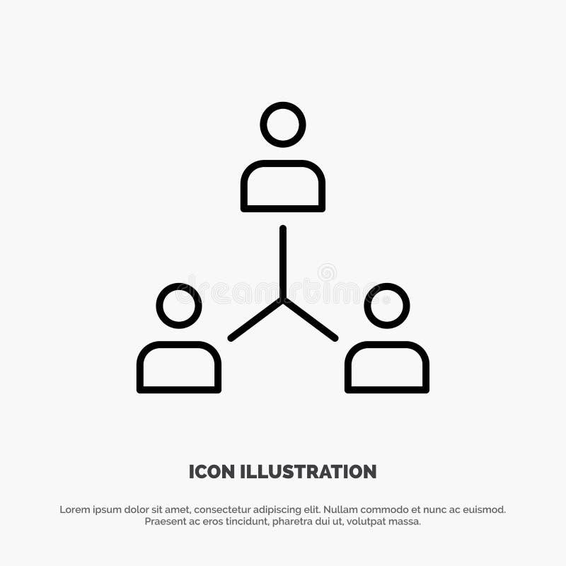 Struktur företag, samarbete, grupp, hierarki, folk, Team Line Icon Vector royaltyfri illustrationer