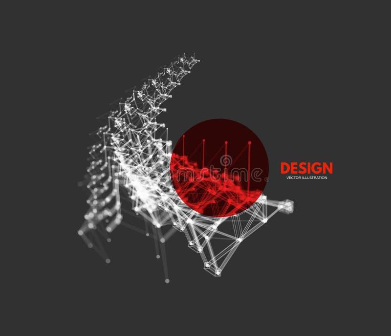 struktur f?r anslutning 3D Futuristisk teknologistil L?g-poly best?ndsdel f?r design Vektorillustration f?r vetenskap, kemi eller stock illustrationer