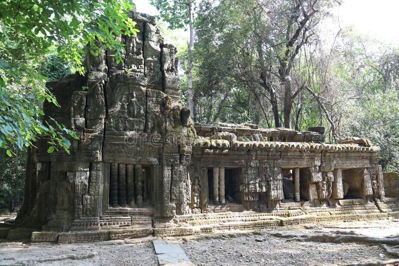 Struktur i det Angkor Thom tempelkomplexet, Cambodja arkivbild