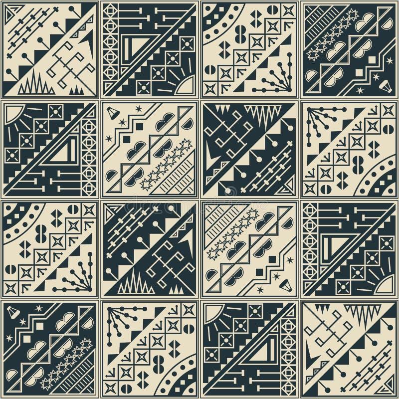 struktura abstrakcyjna struktura abstrakcyjna Bezszwowy tło z geometrycznymi kształtami Abstrakcjonistyczna retro tapeta w dwa ko ilustracja wektor