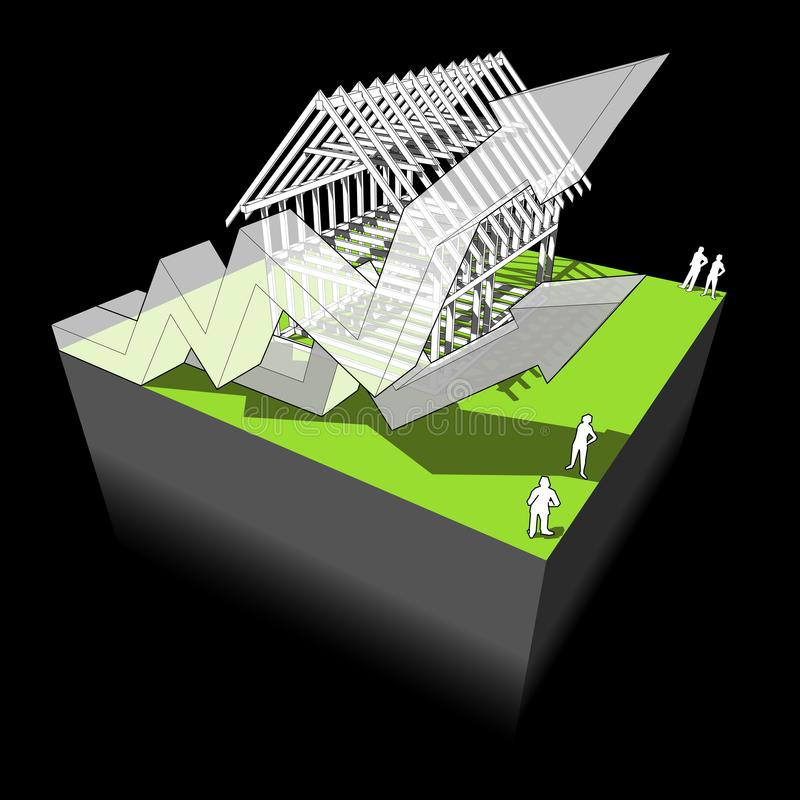 Struktura dom z biznesowym strzała diagramem ilustracja wektor
