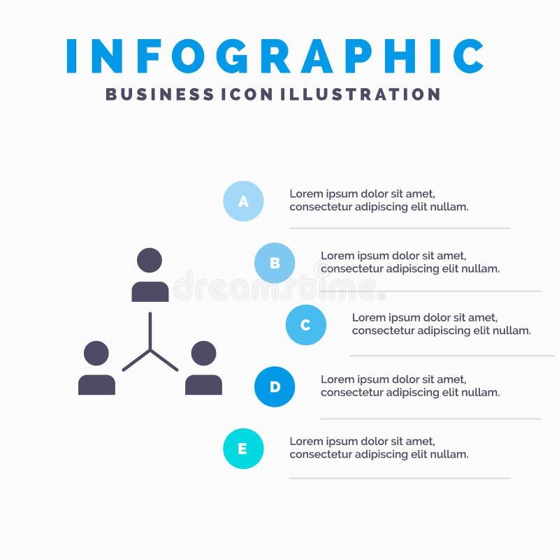 Struktura, firma, współpraca, grupa, hierarchia, ludzie, Drużynowy Stały ikony Infographics 5 kroków prezentacji tło ilustracji