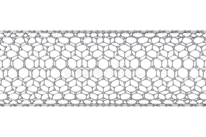 Struktura graphene tubka nanotechnologia ilustracja 3 d obrazy royalty free