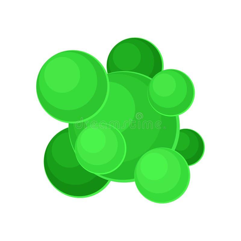 Struktura gronkowiec - aureus bakterie pod mikroskopem Zielony powoduje mikroorganizm Płaski wektor dla royalty ilustracja