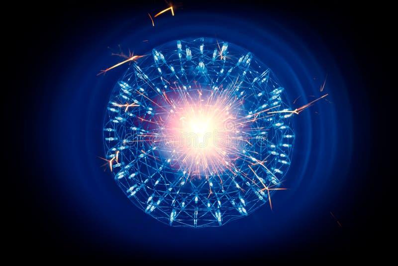 Struktura jądro atomu Jądrowy zapłon wewnętrznego sedna atomowa bomba ilustracji