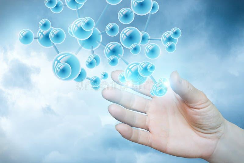 Struktura molekuła w ręce zdjęcie royalty free