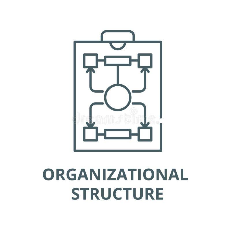 Struktura organizacyjna wektoru linii ikona, liniowy pojęcie, konturu znak, symbol ilustracji