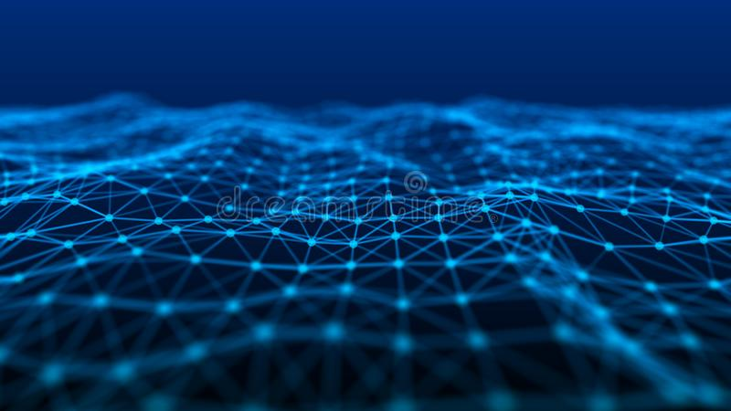 Struktura sieć związek punkty i linie Dane technologia cyfrowy t?o ?wiadczenia 3 d ilustracji