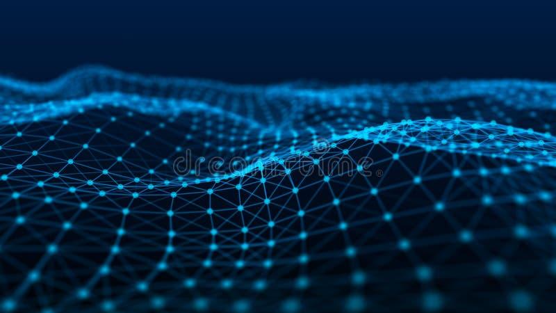 Struktura sieć związek punkty i linie Dane technologia cyfrowy t?o ?wiadczenia 3 d ilustracja wektor