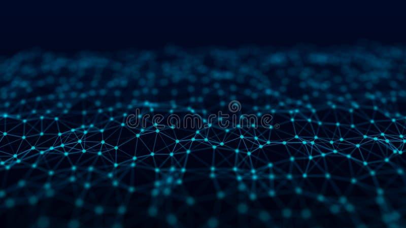 Struktura sieć związek punkty i linie Dane technologia cyfrowy t?o ?wiadczenia 3 d royalty ilustracja