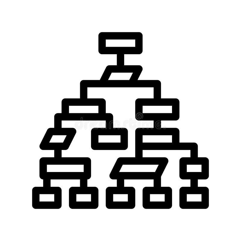 Struktura systemu komputerowego wektoru Cienka Kreskowa ikona ilustracji
