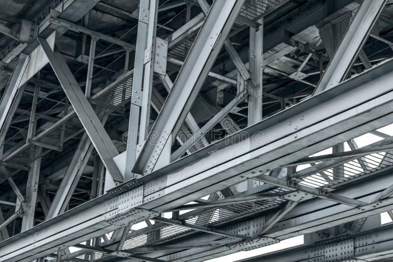 Struktura szczegół metal linii kolejowej most Dolny widok obrazy royalty free