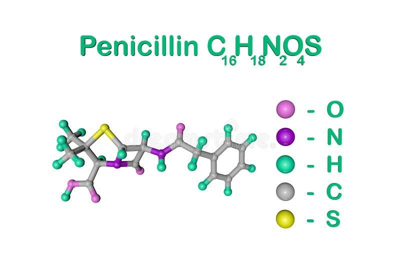 Strukturell kemisk formel och molekyl?r modell av penicillinantibiotikummen som produceras av svampPenicillium Det ?r ett av stock illustrationer