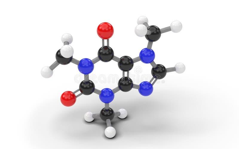 Strukturell modell av koffeinmolekylen vektor illustrationer