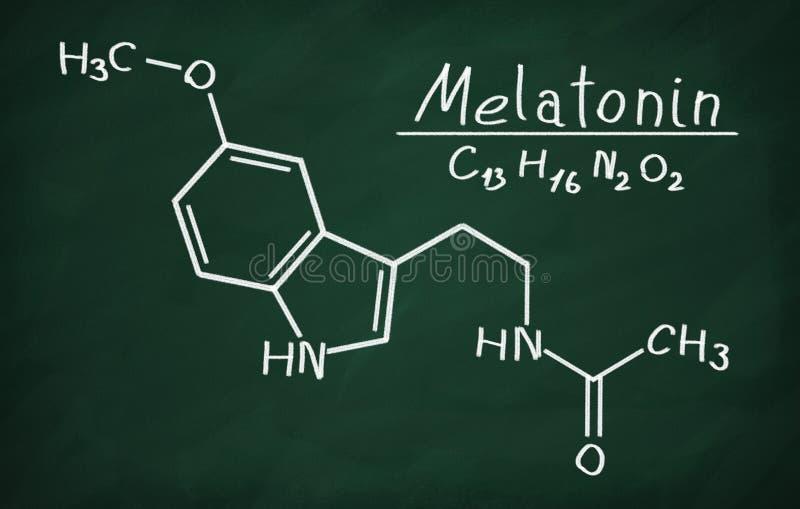 Strukturell modell av melatoninen vektor illustrationer