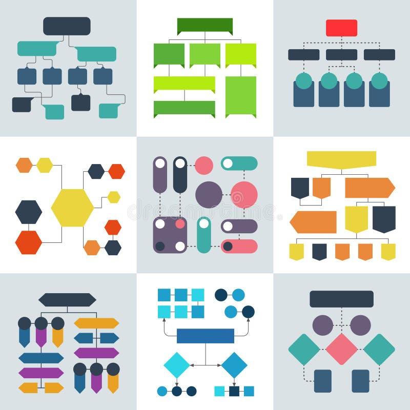 Strukturella flödesdiagram, flödesdiagram och strukturer för flödande process Vektorinfographicsbeståndsdelar stock illustrationer
