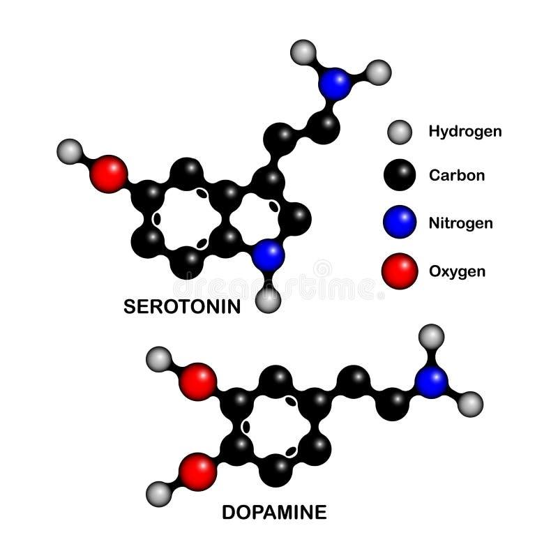 Strukturella formler av så kallad lyckahormoner stock illustrationer