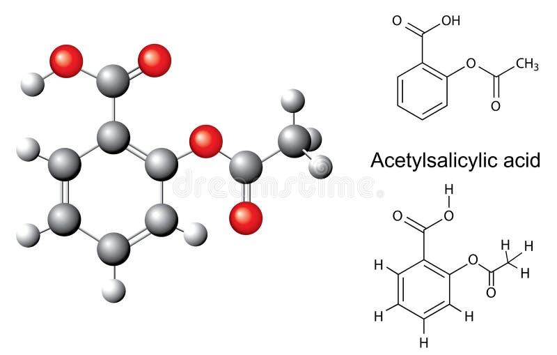 Strukturella kemiska formler och modell av acetylsalicylic syra stock illustrationer