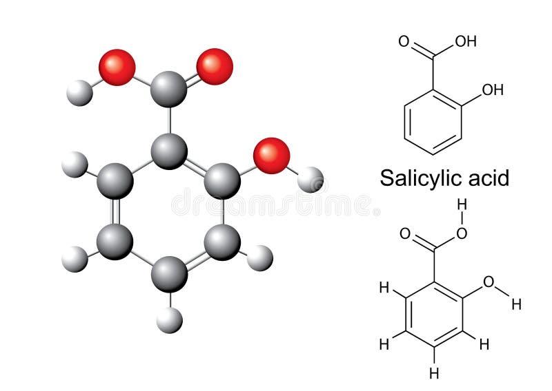 Strukturella kemiska formler och modell av salicylic syra stock illustrationer