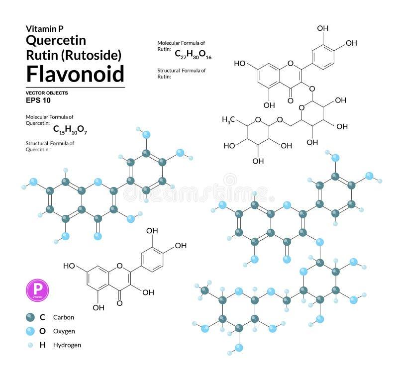 Strukturelle chemische molekulare Formel und Modell des Rutins und des Quercetins Atome werden als Bereiche mit Farbkennzeichnung stock abbildung