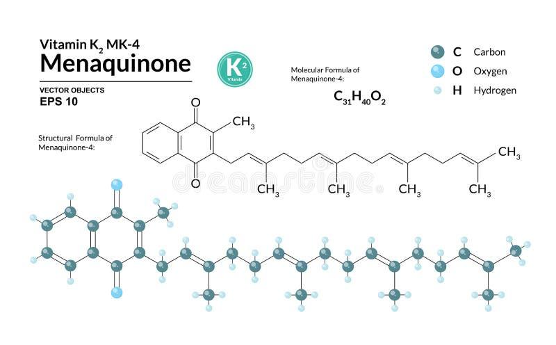 Strukturelle chemische molekulare Formel und Modell von Menaquinone-4 Atome werden als Bereiche mit Farbkennzeichnung dargestellt lizenzfreie abbildung