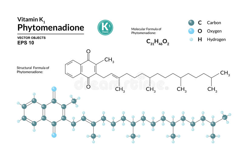 Strukturelle chemische molekulare Formel und Modell von Phytomenadione Atome werden als Bereiche mit Farbkennzeichnung dargestell vektor abbildung
